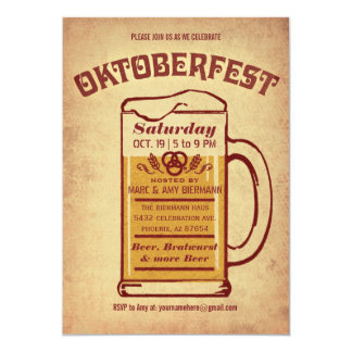 """Invitaciones de Oktoberfest - v.1 rústico Invitación 5"""" X 7"""""""