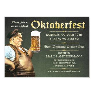 """Invitaciones de Oktoberfest (vintage) v.1 (verde) Invitación 5"""" X 7"""""""