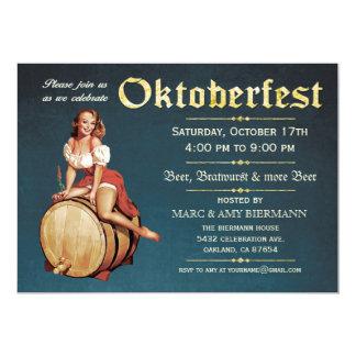 """Invitaciones de Oktoberfest (vintage) v.2 (azules) Invitación 5"""" X 7"""""""