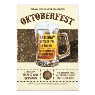 """Invitaciones de Oktoberfest - vintage v.2 rústico Invitación 5"""" X 7"""""""