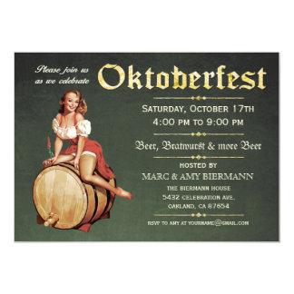 """Invitaciones de Oktoberfest (vintage) v.2 (verde) Invitación 5"""" X 7"""""""
