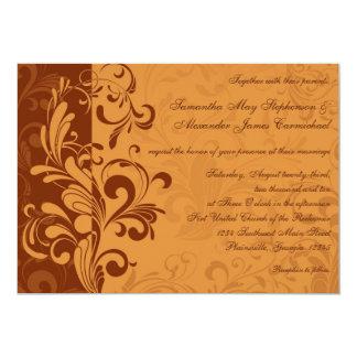 """Invitaciones de oro calientes del boda del invitación 5"""" x 7"""""""
