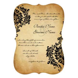 Invitaciones de oro del boda del damasco del negro