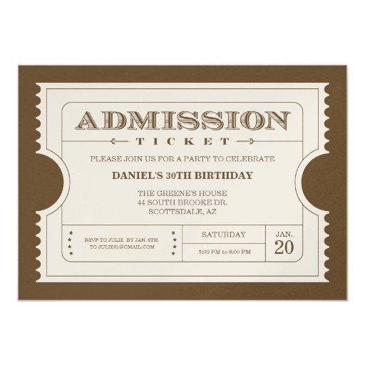 Invitaciones de oro del boleto en el papel de la invitación 12,7 x 17,8 cm