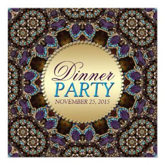 Invitaciones de oro del fiesta de cena de la tierr comunicados personalizados