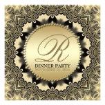 Invitaciones de oro del fiesta de cena del cordón invitación