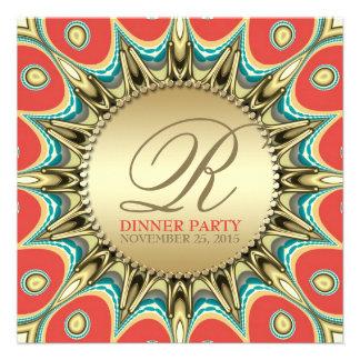 Invitaciones de oro del fiesta de cena del girasol anuncios