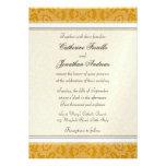 Invitaciones de oro elegantes del boda del cordón