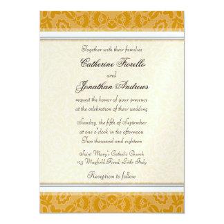 """Invitaciones de oro elegantes del boda del cordón invitación 5"""" x 7"""""""