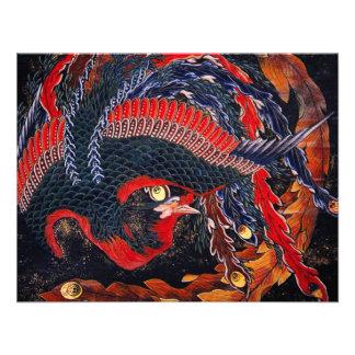 Invitaciones de Phoenix del japonés de Hokusai Invitación Personalizada