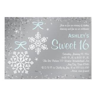 Invitaciones de plata azules del dulce dieciséis comunicados personales