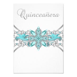 Invitaciones de plata de Quinceanera de las azules Comunicados Personales