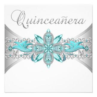 Invitaciones de plata de Quinceanera de las azules Comunicados