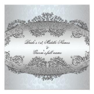 """Invitaciones de plata del boda del marco del invitación 5.25"""" x 5.25"""""""