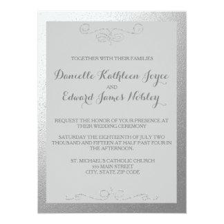 """Invitaciones de plata y grises del boda de la hoja invitación 5.5"""" x 7.5"""""""