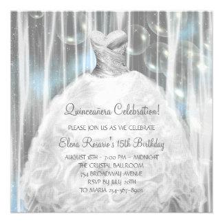 Invitaciones de Quinceanera del blanco y del azul Comunicados Personales
