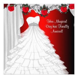 Invitaciones de Quinceanera del rosa rojo del vest Anuncio