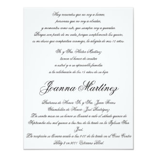 Invitaciones de Quinceanera en español 4,25 x 5,5 Invitacion Personal