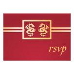 Invitaciones de RSVP del dragón del rojo y del oro Comunicado Personalizado