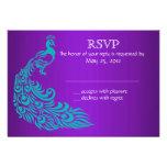 Invitaciones de RSVP del pavo real de la púrpura y Invitacion Personal