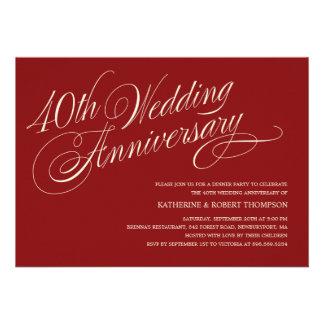 Invitaciones de rubíes del aniversario de boda comunicado personalizado