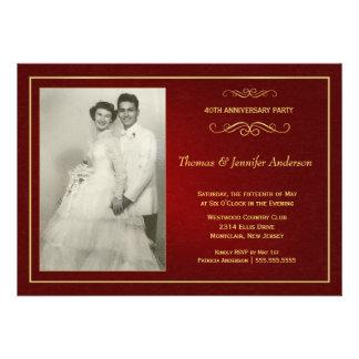 Invitaciones de rubíes del aniversario de boda - 4