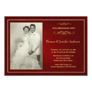 """Invitaciones de rubíes del aniversario de boda - invitación 5"""" x 7"""""""