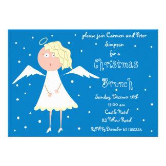 Invitaciones del ángel del brunch del navidad