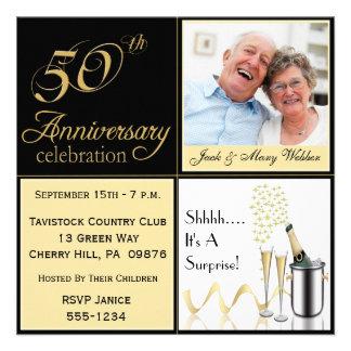 Invitaciones del aniversario de boda de oro de la anuncios