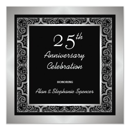 """Invitaciones del aniversario de bodas de plata invitación 5.25"""" x 5.25"""""""