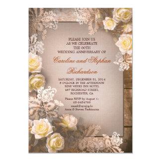 Invitaciones del aniversario del vintage de los invitaciones personales