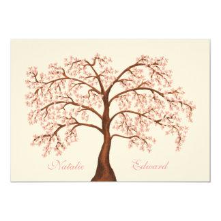 """Invitaciones del árbol de la flor de cerezo de invitación 5"""" x 7"""""""