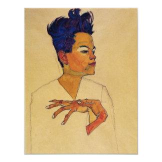 Invitaciones del autorretrato de Egon Schiele Invitación 10,8 X 13,9 Cm