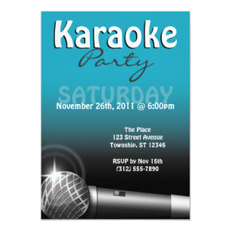 Invitaciones del azul del fiesta del Karaoke Invitación 12,7 X 17,8 Cm