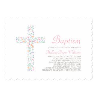 """Invitaciones del bautismo para la cruz floral de invitación 5"""" x 7"""""""