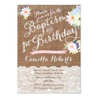 """Invitaciones del bautismo y del cumpleaños, 1r invitación 5"""" x 7"""""""