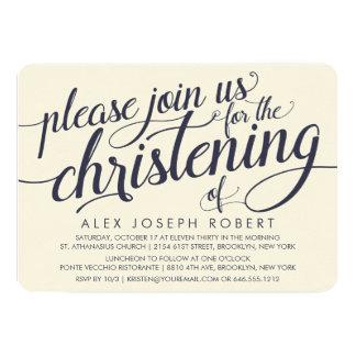 """Invitaciones del bautizo de la caligrafía de la invitación 5"""" x 7"""""""