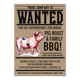 """Invitaciones del Bbq de la familia de la carne Invitación 5"""" X 7"""""""