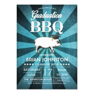 """Invitaciones del Bbq de la graduación (azules Invitación 5"""" X 7"""""""