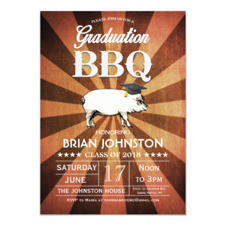 """Invitaciones del Bbq de la graduación (oro) Invitación 5"""" X 7"""""""
