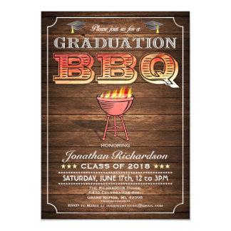 """Invitaciones del Bbq de la graduación (parrilla y Invitación 5"""" X 7"""""""