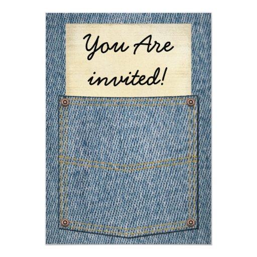"""Invitaciones del Bbq del bolsillo de los vaqueros Invitación 5"""" X 7"""""""