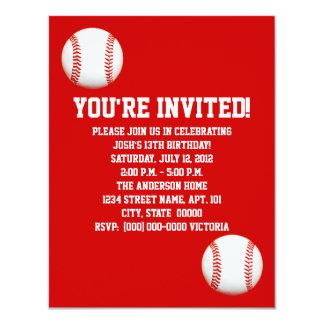 """Invitaciones del béisbol invitación 4.25"""" x 5.5"""""""