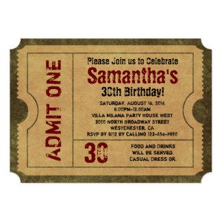 invitaciones del billete de grupo del oro del invitación 12,7 x 17,8 cm