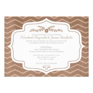 Invitaciones del boda de Brown Chevron