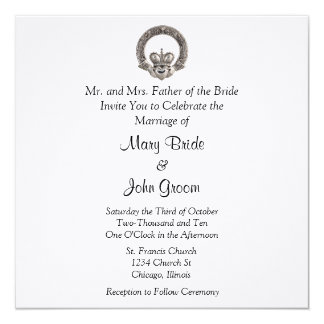 """Invitaciones del boda de Claddagh Invitación 5.25"""" X 5.25"""""""