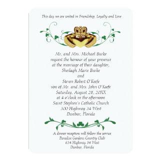 """Invitaciones del boda de Claddaugh/de Claddagh Invitación 5"""" X 7"""""""
