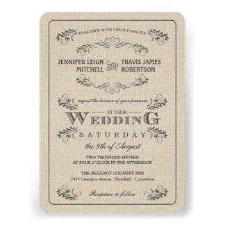 Invitaciones del boda de la arpillera del Flourish