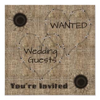 """Invitaciones del boda de la arpillera del país invitación 5.25"""" x 5.25"""""""