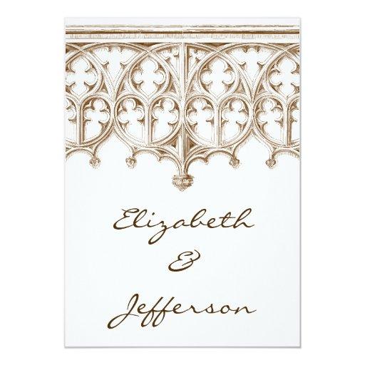 Invitaciones del boda de la catedral de la sepia invitación 12,7 x 17,8 cm